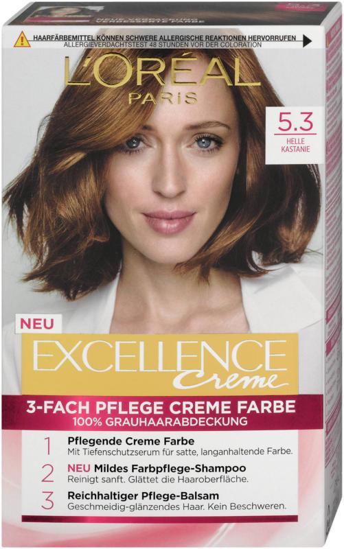 L'Oréal Paris Excellence Creme 3-Fach Pflege Creme Farbe - Nr. 5.3 Helle Kastanie