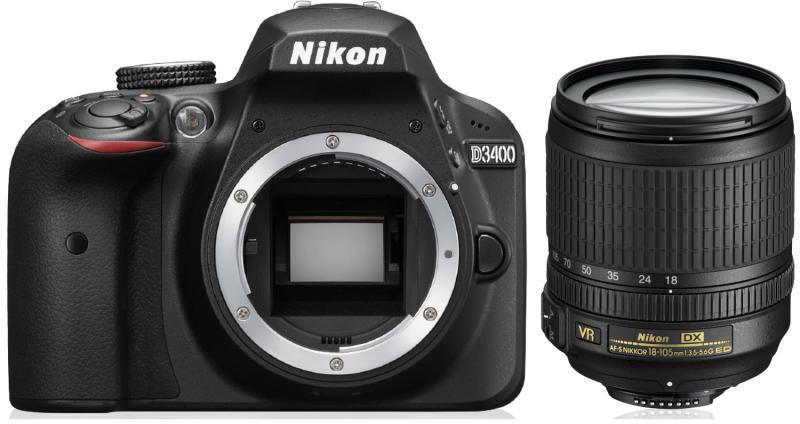 Nikon D3400 + AF-S 18-105VR Objektiv + UV Filter -15%