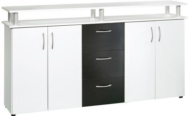 Megakommode Nevada weiß/schwarz ca. 155 x 84 x 35 cm