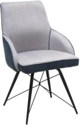 Stuhl in Metall, Textil Hellgrau, Dunkelgrau