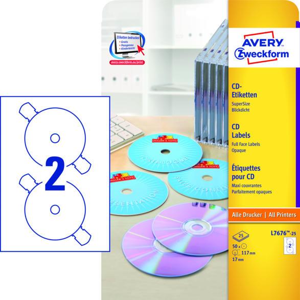 CD-Etiketten SuperSize, Ø 117 mm, 25 Bogen/50 Etiketten, weiß (L7676-25)