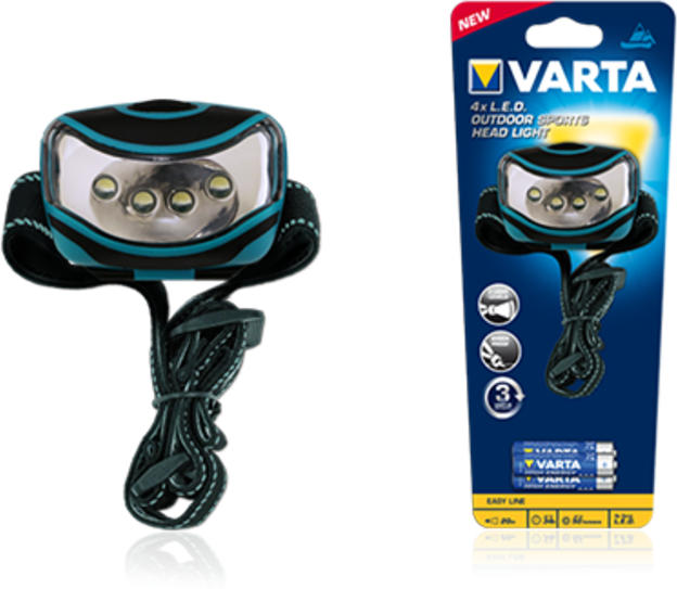 Stirnleuchte 4x LED Outdoor Sports Head Light 3AAA