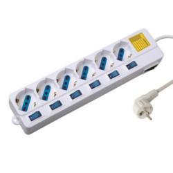 Steckerleiste 6-fach EW3932 mit Überspannungsschutz und individuelle Schalter, weiß