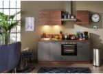 Möbelix Einbauküche Küchenblock Möbelix Base/Plan B: 200 cm Stahl Dunkel