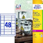 Saturn Wetterfeste Folien-Etiketten, 45.7 x 21.2 mm, 20 Bogen/960 Etiketten, weiß (L4778-20)