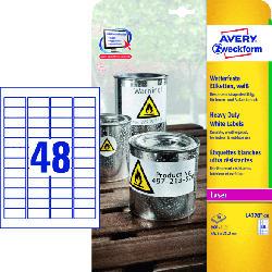 Wetterfeste Folien-Etiketten, 45.7 x 21.2 mm, 20 Bogen/960 Etiketten, weiß (L4778-20)