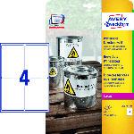 Saturn Wetterfeste Folien-Etiketten, 99,1 x 139 mm, 20 Bogen/80 Etiketten, weiß (L4774-20)