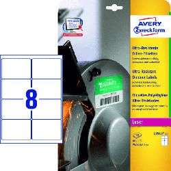 Ultra-Resistente Folien-Etiketten,99,1 x 67,7 mm,10 Bogen/80 Etiketten,weiß(L7914-10)