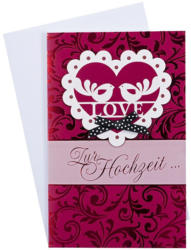 Billet Hochzeit - LOVE Zur Hochzeit die besten Wünsche, rot