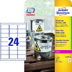 Wetterfeste Folien-Etiketten, 63,5 x 33,9 mm, 20 Bogen/480 Etiketten, weiß (L4773-20)