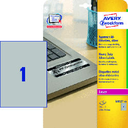 Typenschild-Etiketten, 210 x 297 mm, 20 Bogen/20 Etiketten, silber (L6013-20)