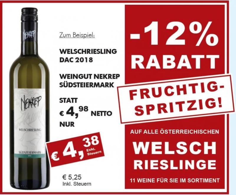 -12% auf alle Welschrieslinge aus Österreich