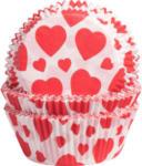 Pagro Backförmchen aus Papier Herzen 60 Stück rot/weiß