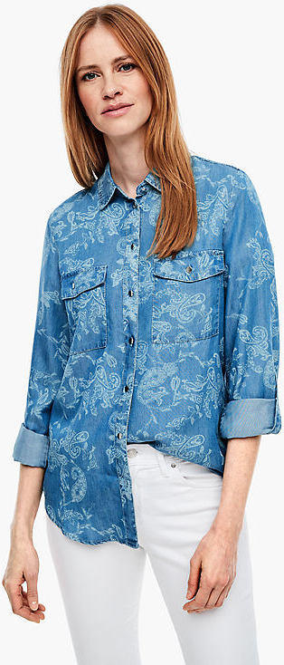 Jeansbluse mit Ornament-Muster