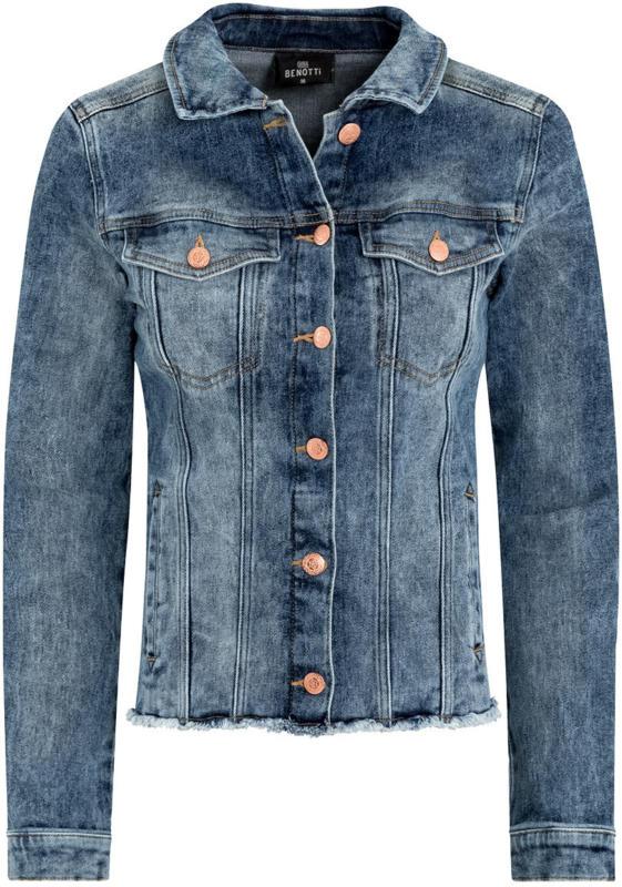 Damen Jeansjacke mit fransigen Details (Nur online)