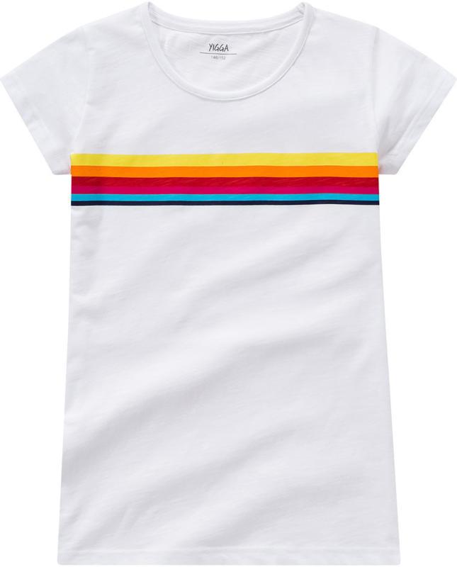 Mädchen T-Shirt mit buntem Streifen-Print (Nur online)