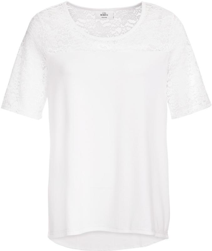 Damen T-Shirt mit floralem Spitzeneinsatz (Nur online)