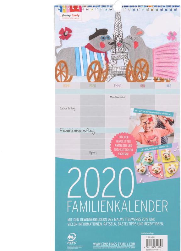 Familienkalender 2020 mit Malbildern