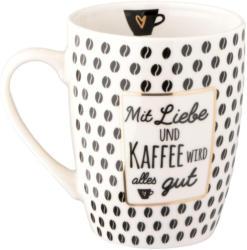 Tasse mit Kaffee-Spruch