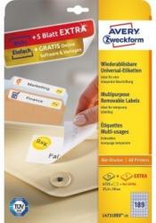AVERY ZWECKFORM Universal-Etiketten wiederablösbar L4731REV-25 2,5 x 1 cm 25 Blatt + 5 Blatt Extra weiß