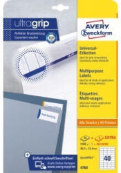 AVERY ZWECKFORM Universal-Etiketten 4780 4,85 x 2,54 cm 25 Blatt + 5 Blatt Extra weiß