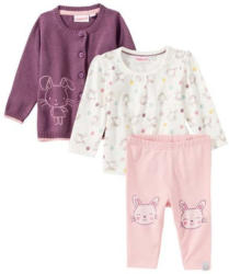 Baby-Mädchen-Set mit Hasen-Motiven, 3-teilig