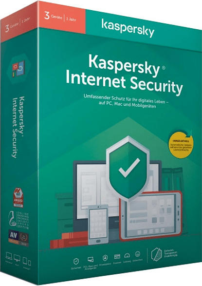 Kaspersky Internet Security 3 Geräte (Code in a Box)