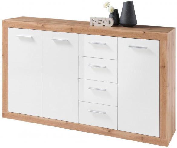 Kommode Ibiza Wildeiche Nachbildung/weiß glänzend, 152 cm breit