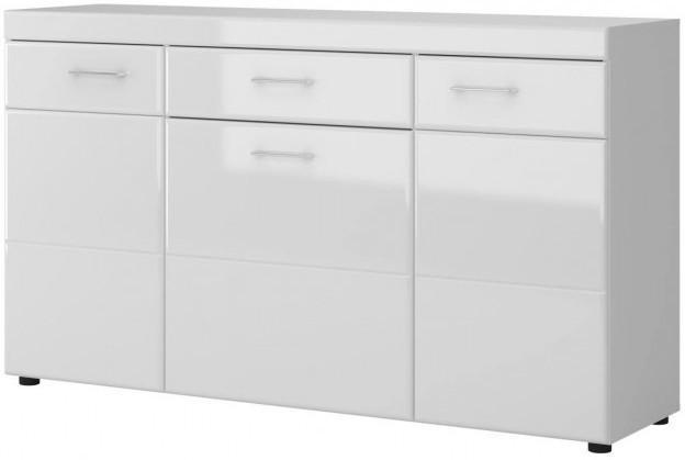 Kommode Tomino Weiß/Weiß Hochglanz, ca. 155 cm breit
