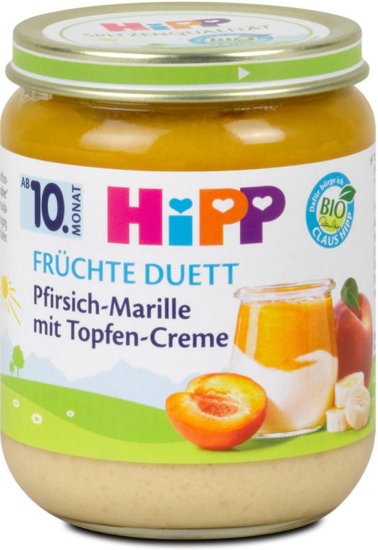 Hipp Früchte-Duett Pfirsich-Marille mit Topfen-Creme