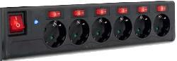 Steckdosenleiste 6fach mit extra Schalter für jede Steckdose, schwarz