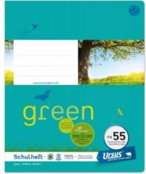 URSUS GREEN Schulheft quart FX55 mit Korrekturrand 40 Blatt kariert