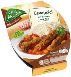 Chef Menü Cevapcici mit Letscho und Reis