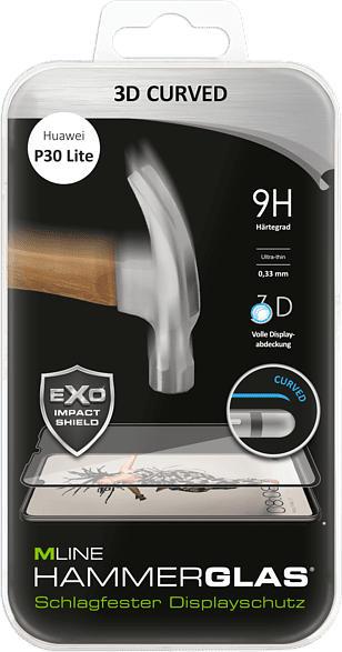Displayschutzglas inkl. Cover Protection Set 3D Curved für Huawei P30 Lite, transparent/schwarz