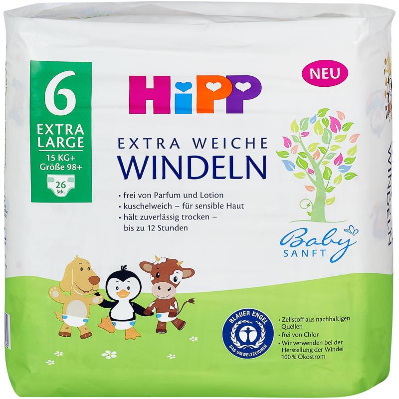 Hipp Babysanft Extra Weiche Windeln Gr. 6 (15+ kg)