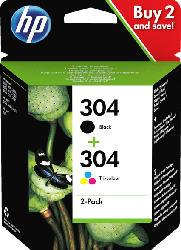 HP 304 Tintenpatrone 2er-Pack Schwarz/Cyan/Magenta/Gelb (3JB05AE)