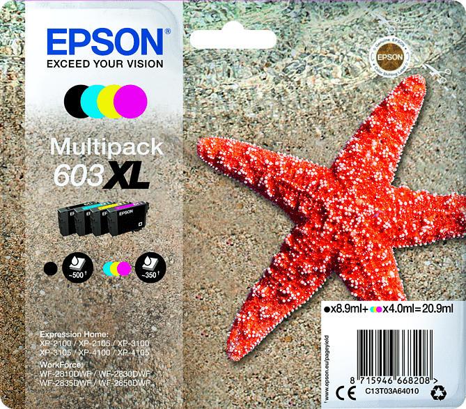 EPSON Original Tintenpatrone Seestern Schwarz, Gelb, Cyan, Magenta (C13T03A64010)