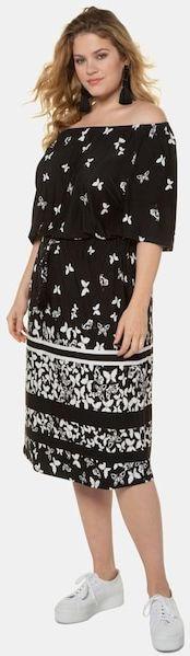 Jerseykleid, gemustert, Carmen-Ausschnitt, Glockenärmel