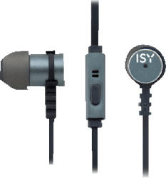 ISY Metal In-Ear Headset, grey, In-ear Kopfhörer  Grau