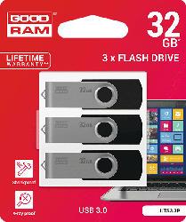 USB Stick 3er Pack mit je 32 GB, schwarz (UTS3-0320K0R11-3P)