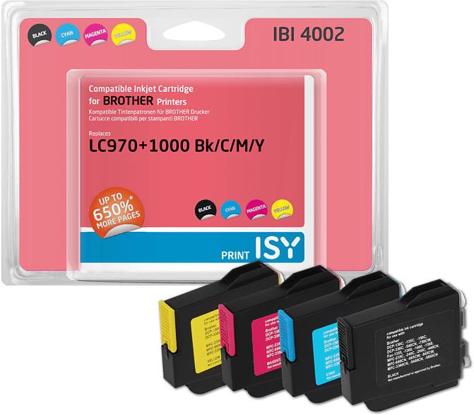 Tintenpatronen Multipack IBI-4002 Brother LC-970+1000, schwarz/cyan/magenta/gelb