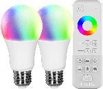 Saturn tint LED Birnenform, 9,5W, E27, 2x weiß+farbe + FB 3er Set