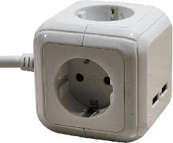 """Tischverteiler 4-fach """"Magic Cube"""" ETV4800 1,4m 3x1,5mm² 2x USB 2,4A max."""