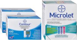 Bayer Contour 2 x 100 strisce reattive + 200 Microlet lancette colorate -