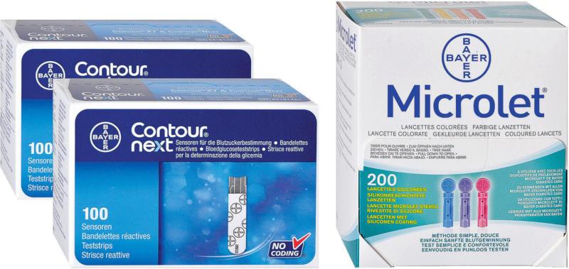 Bayer Contour Next 2 x 100 bandelettes + 200 Microlet lancettes colorées -