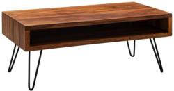 Couchtisch Holz mit Massiver Tischplatte + Ablage, Sheesham
