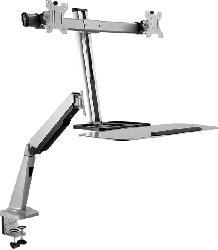 Monitorständer mit zwei gasgefederten Armen, Sitzen-/Stehen-Funktion, 27 Zoll, grau (DW1SSGSD-1E)