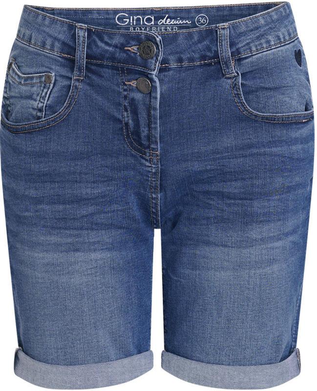 Damen Boyfriend-Jeansshorts mit Used-Effekt