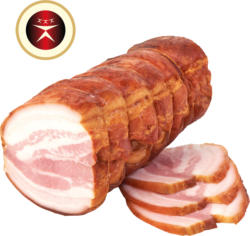 Schweinebauchrolle, gepökelt, gegart und geräuchert