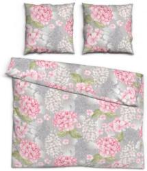 Baumwoll Seersucker Bettwäsche Blüten grau/rosa 200 x 200 cm